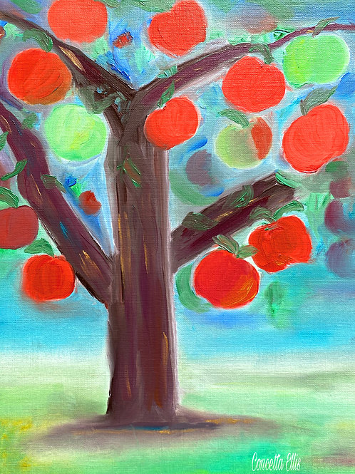 Greeting Cards Apple Tree Painting By Concetta Ellis