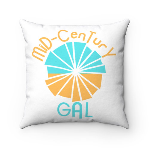 White Mid-Century Pillow And Cover | Modern Boho Flower, | Mid-Century Gal