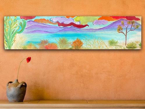 """Original Oil Painting Whimsical Desert Mirage 6"""" x 24"""""""