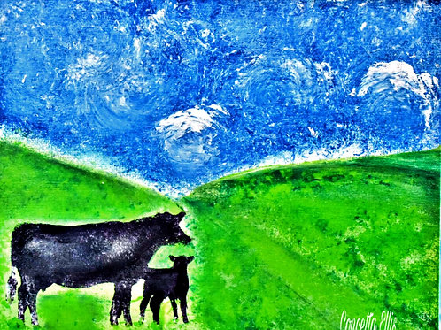 Note Card Cows And Hills Abstract Sky