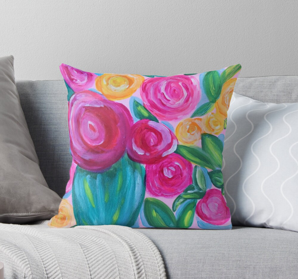 Floral Whimsical Throw Pillow Art By Con