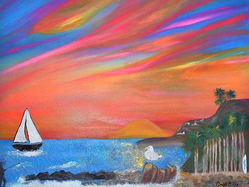 "Original Acrylic Painting Pink Sunset Royal Palms Beach 18"" x 24"""