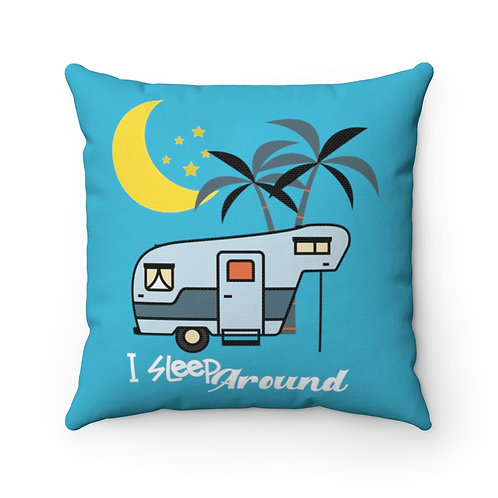 Pillow And Cover | Retro Blue Pillow | Camping Funny Quote | I Sleep Around