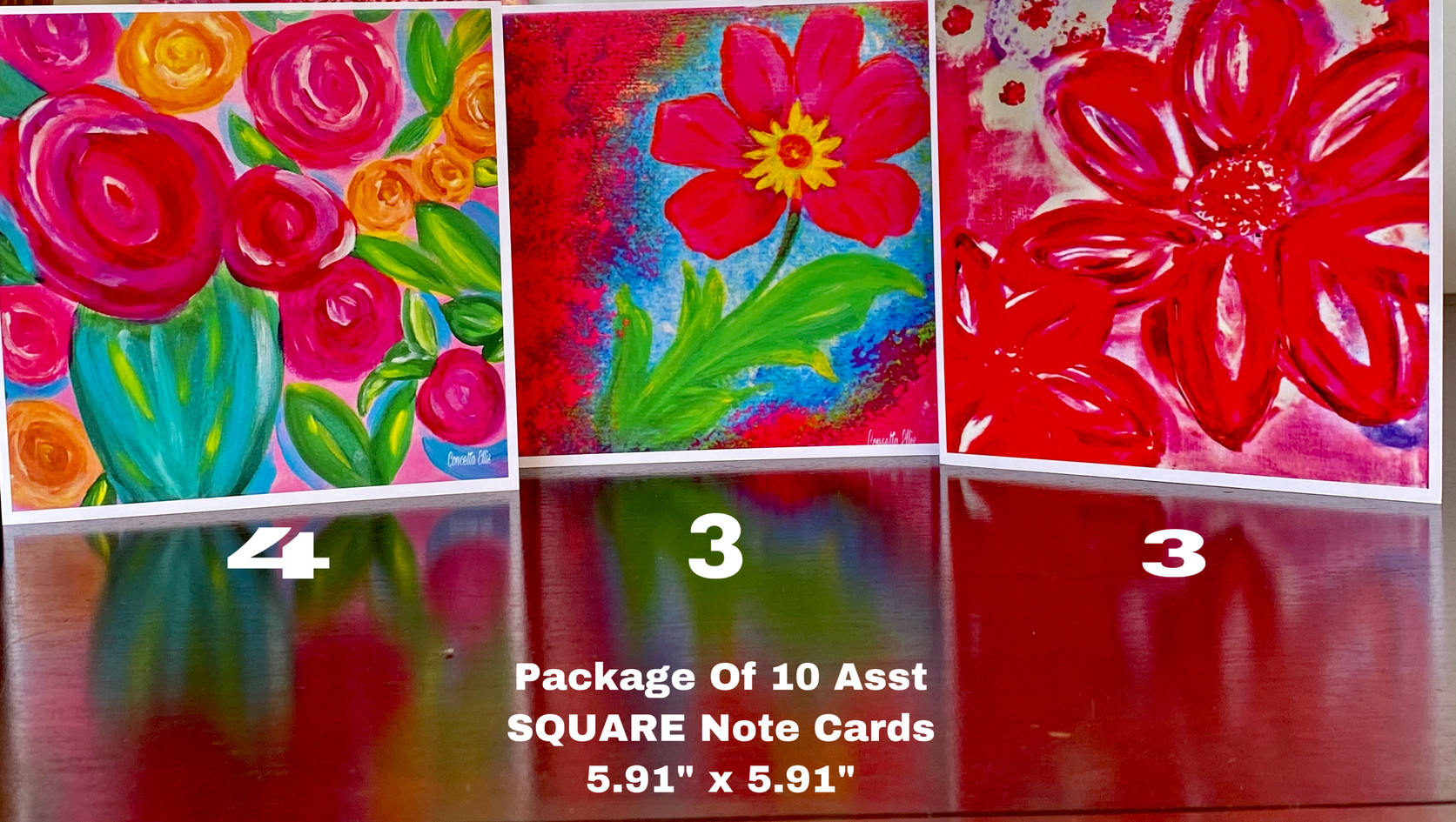 Cards Asst Square Painted Flowers By Con