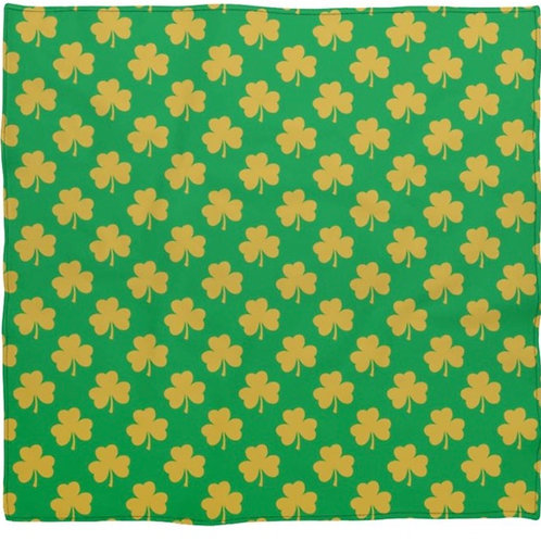 Green Silk Scarf Bandana With Gold Shamrocks