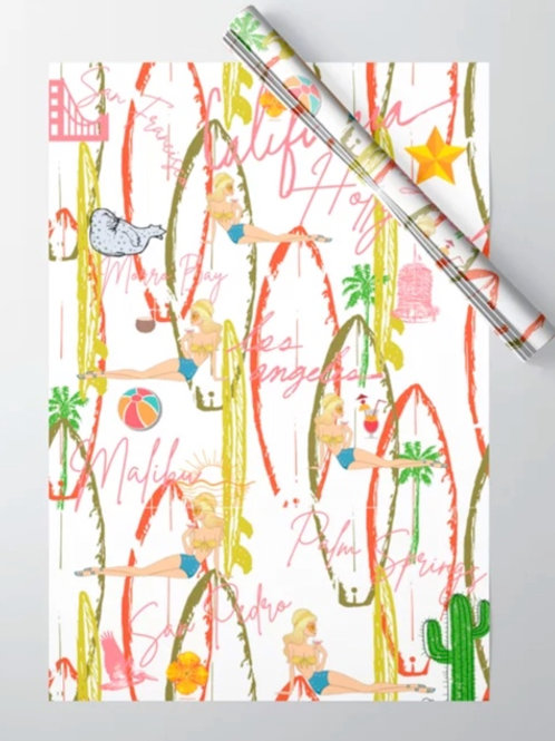 Wrapping Paper California Vintage White