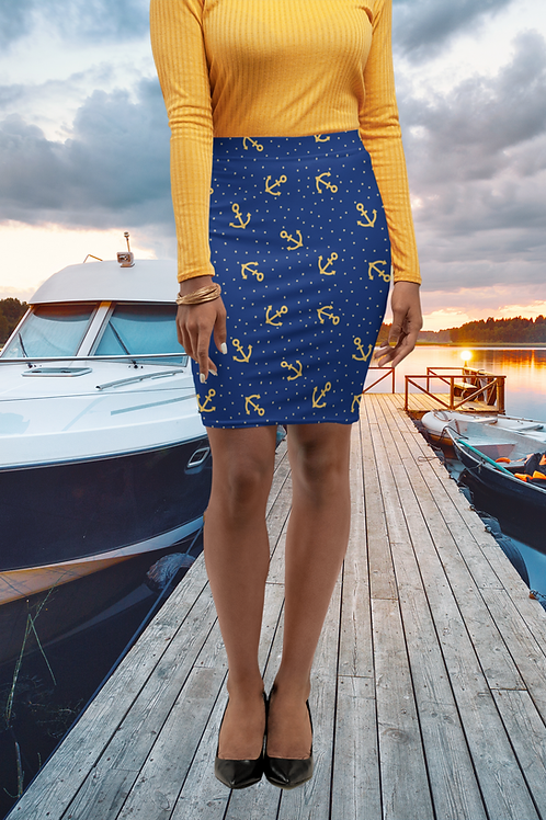 Pencil Skirt Nautical Blue With Gold Anchors and Stars