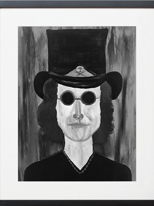 FRAMED ROCK N ROLL MAN WITH TOP HAT Painting By Concetta Ellis