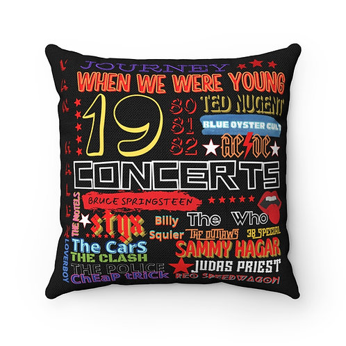 Rock N Roll Pillow | Black Rock N Roll Pillow And Cover | 80s Concert Pillow