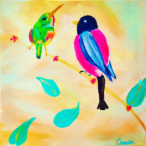 "Note Card Square Painting Birds ""Hanging Out"""