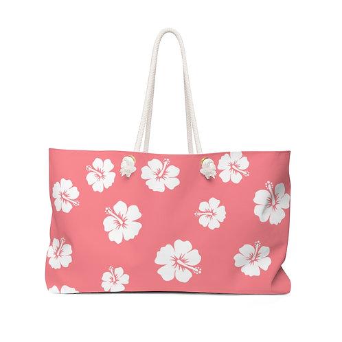 Pink Weekender Bag | White Hibiscus