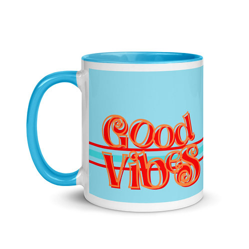 Good Vibes Blue Mug with Color Inside