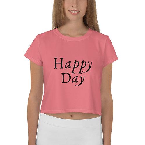 Happy Day Pink All-Over Print Crop Women's Tee