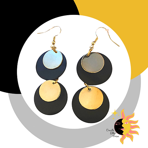 Black And Gold Dangle Earrings | Black And Gold | 80s Fashion | Mod Earrings
