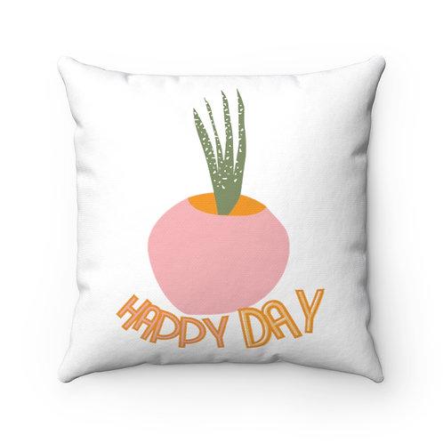 Retro Pillow | Mid-Century Design | Botanical | Quote | Happy Day