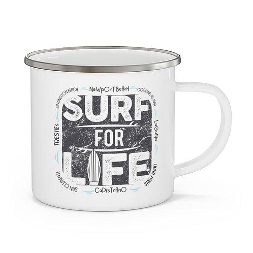 Enamel Campfire Mug | Surf For Life | White