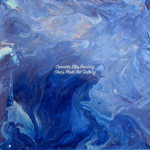 Note Card Painting Blue Ocean Water By Concetta Ellis