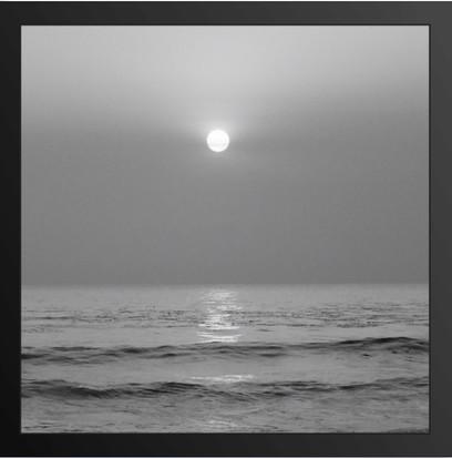 Framed Port Black And White Sunset