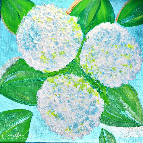 Square Note Card Hydrangea Print Painting By Concetta Ellis