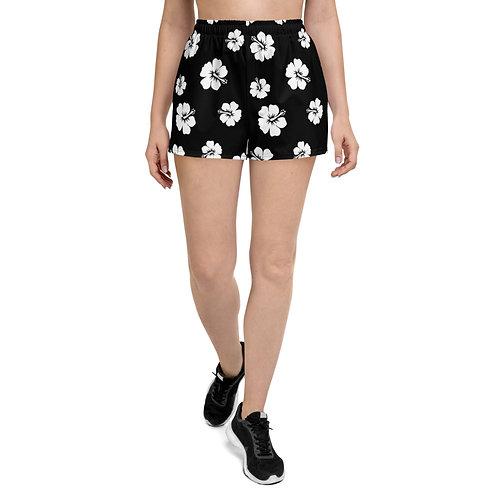 Women's Athletic Black Short Shorts   White Hibiscus Flowers