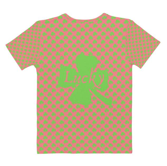 Pink T-Shirt Green Clovers 2 Sided