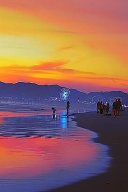 Sunset Pink Santa Monica Ferris Wheel Re