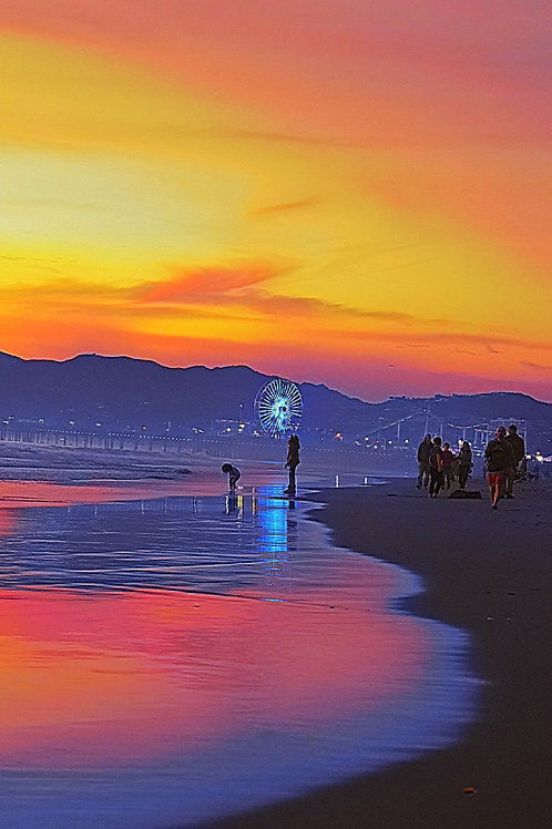 Note Card Santa Monica CA  Pink Sunset Coastal Reflection Ferris Wheel