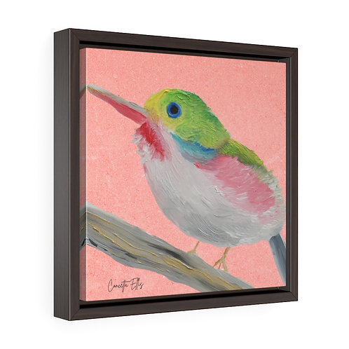 Bird Wall Art | Square Framed Premium Gallery Wrap Canvas | Print Oil Painting