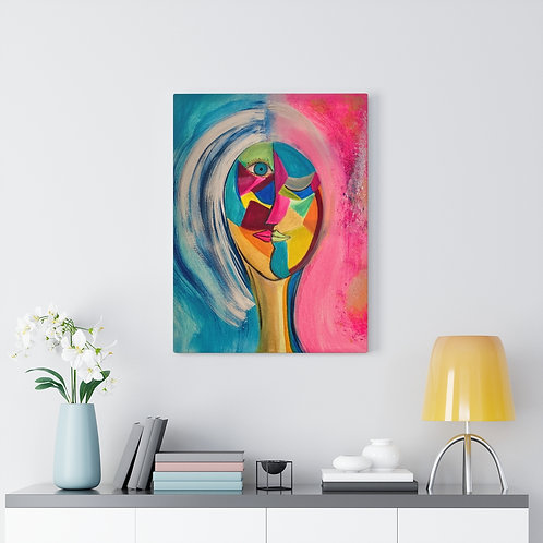 Abstract Woman   Mid-Century Girl   Cubical Art Painting