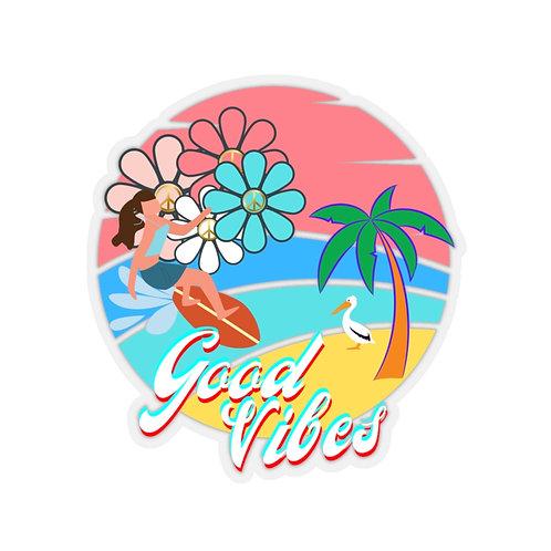 Good Vibes Surfer Girl Kiss-Cut Stickers