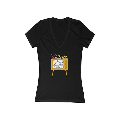 Women's Jersey Short Sleeve Deep V-Neck Tee | My Grandma Made Me Watch