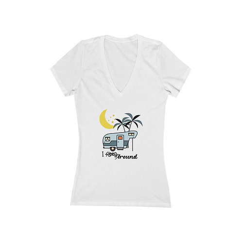 Women's Jersey Short Sleeve Deep V-Neck Tee Camping