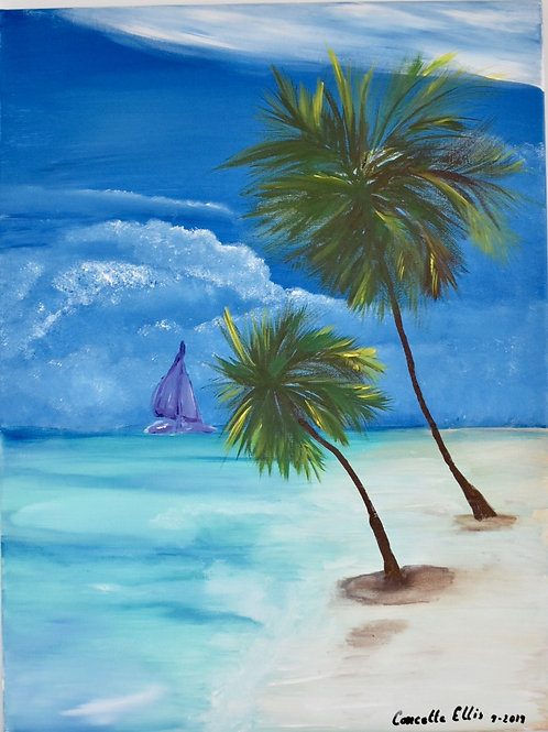 Card Tropical Island Painting By Concetta Ellis