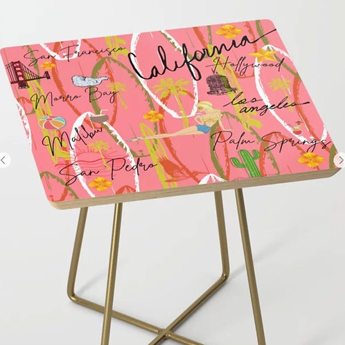 Pink California Vintage Side Table Square