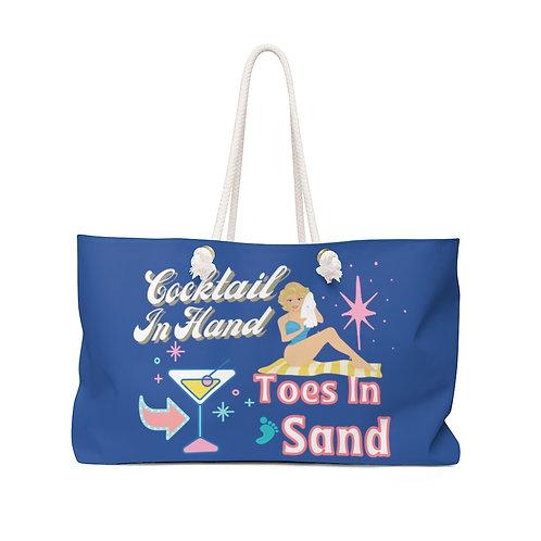 Weekender Bag Retro Blue | Cocktail In Hand Vintage Girl