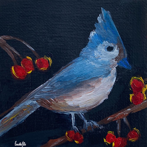 Blue Bird With Berries Original Oil Mini Painting
