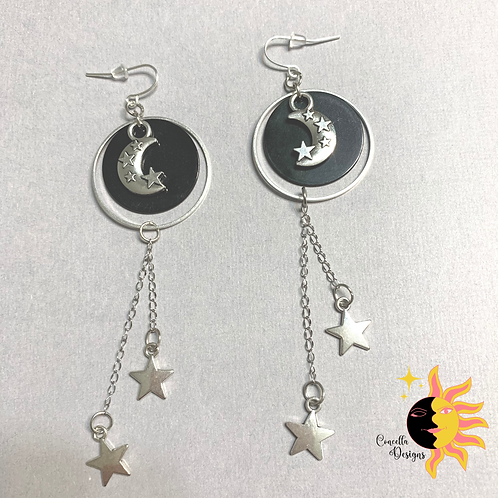 Moon And Stars Drop Earrings | Crescent Moon And Stars | Vintage Moon Drop | Rou