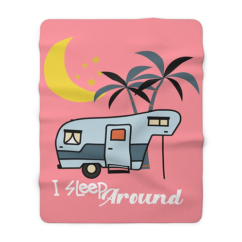 Camping Blanket | Sherpa Fleece Blanket | Funny Pink Blanket | Retro Trailer |