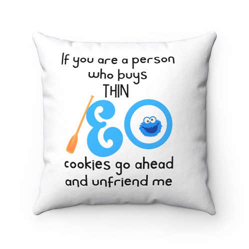 Pillow And Cover | Cookie Lover Pillow Funny Quotes | White Pillow