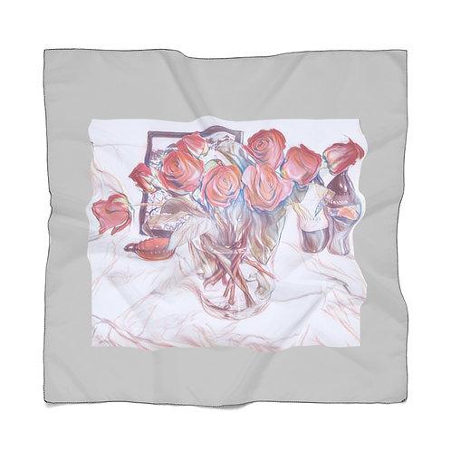 Sketches Of Roses Scarf | Chiffon Bandana | Grey Summer Scarf