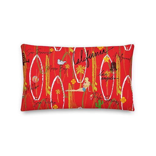 California Vintage Design Red Premium Pillow And Case