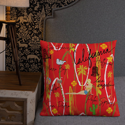 California Red Vintage Design Premium Pillow
