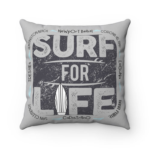 Surfer Pillow | Grey Surf Pillow And Case | Orange County Surf Pillow