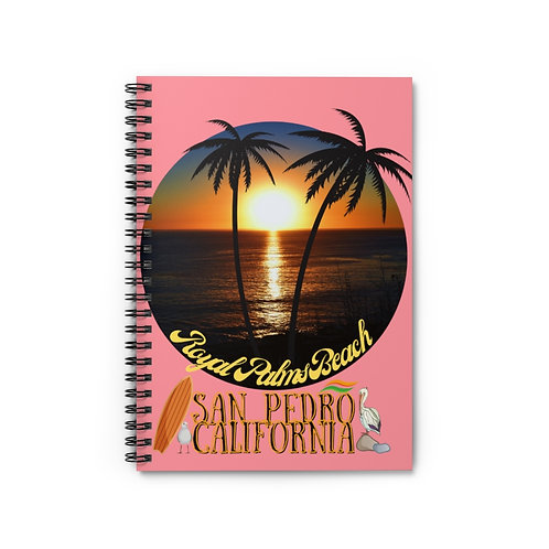Spiral Notebook San Pedro California Royal Palms Beach Pink - Ruled Line