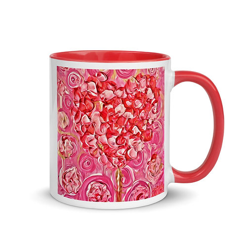 Pink Mug Petals And Heart Painting with Color Inside By Concetta Ellis