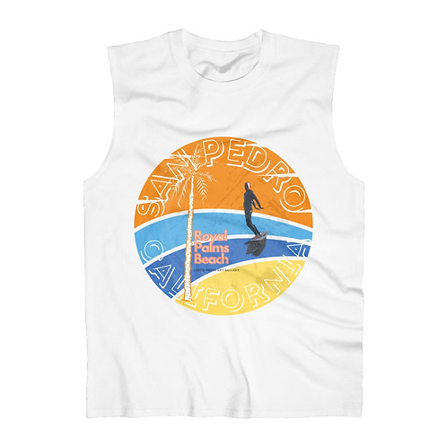 San Pedro California Men's Ultra Cotton Sleeveless White Tank