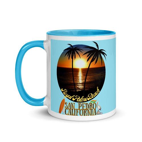 San Pedro California Blue Mug with Color Inside | Royal Palms Beach