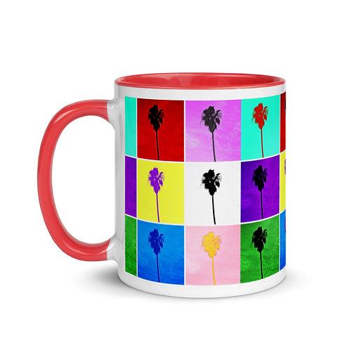 Mug Pop Art Palm Trees Color Inside By Concetta Ellis