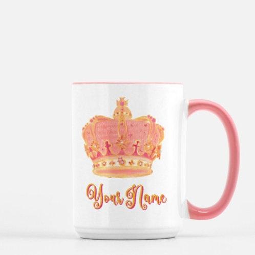 Beautiful Pink Mug Personalize Crown