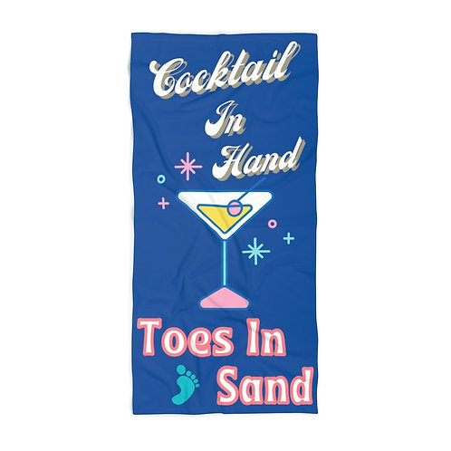Beach Towel Blue Retro Cocktail In Hand Toes In Sand Vintage